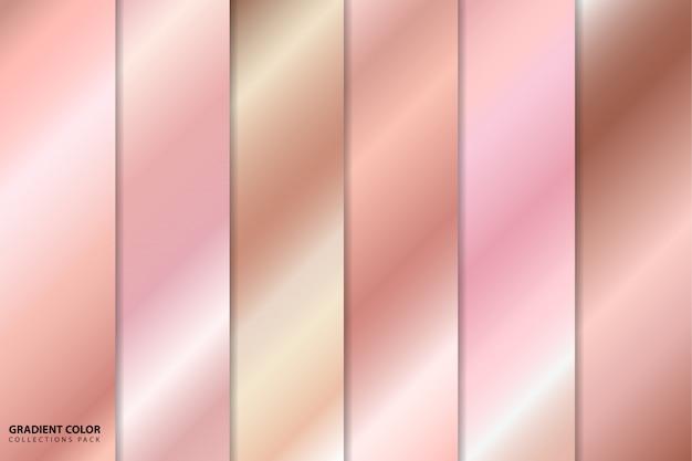 Paquete de colecciones de colores degradados de oro rosa.