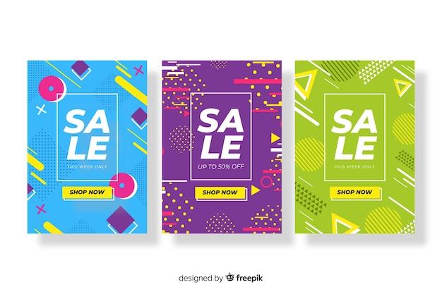 Paquete de coloridas pancartas de ventas estilo memphis
