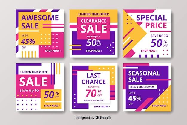 Paquete de coloridas publicaciones de venta de instagram