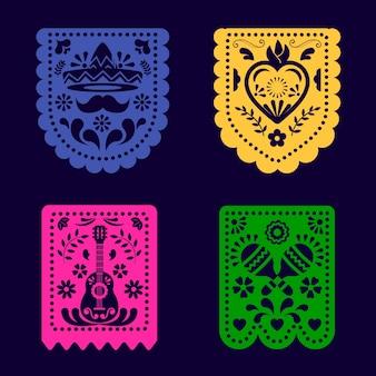 Paquete colorido del empavesado mexicano