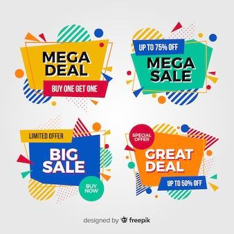 Paquete de coloridos carteles de venta abstracta