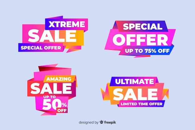 Paquete de coloridos carteles de ventas de origami