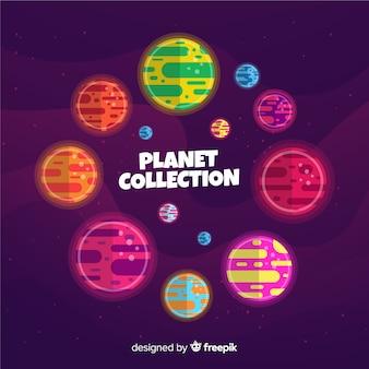 Paquete de coloridos planetas planos