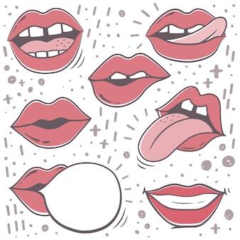 Paquete cómico de pegatinas de labios rojos