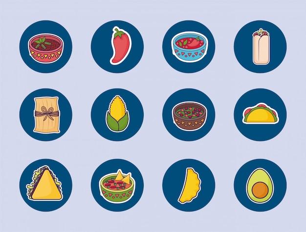 Paquete de comida mexicana con set de iconos