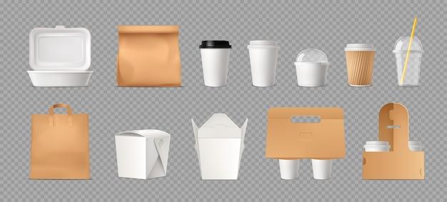 Paquete de comida rápida transparente con bolsas de papel y cajas y vasos de plástico realistas.