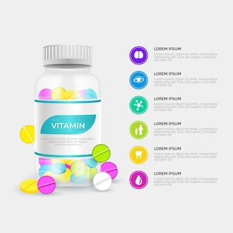 Paquete complejo de vitaminas de estilo realista