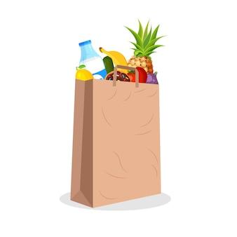 Paquete de compras de papel lleno de frutas y verduras. bolsa de supermercado con comida. comestibles en un moderno estilo plano. agricultura, alimentos frescos y agricultura orgánica.
