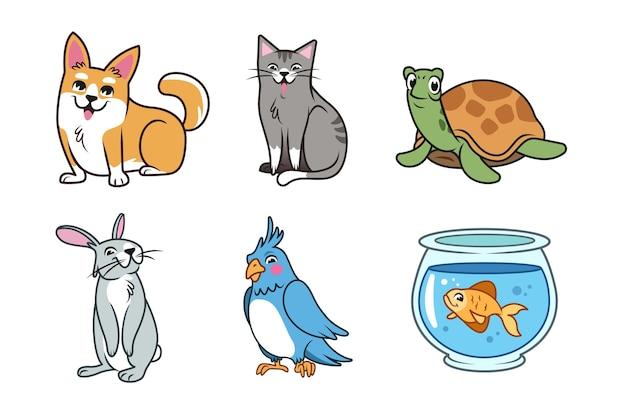 Paquete de concepto de diferentes mascotas