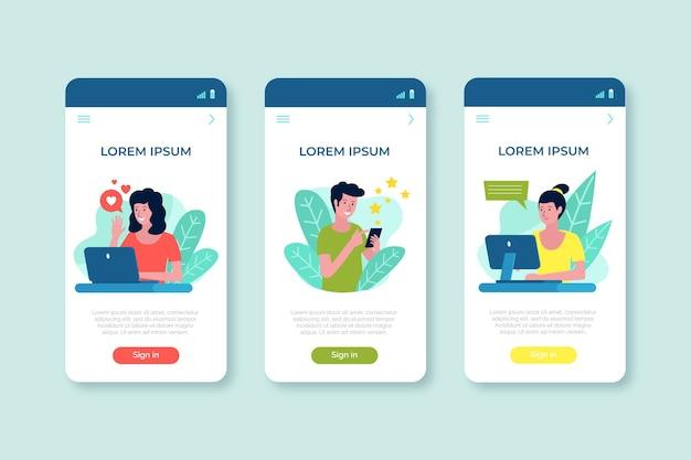 Paquete de conceptos de aplicaciones diferentes