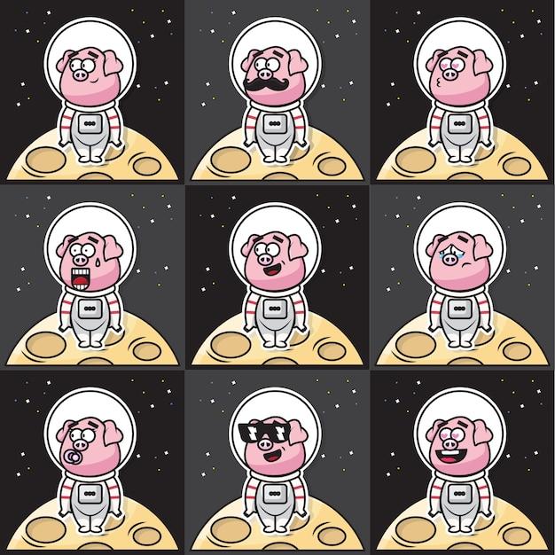 Paquete conjunto de adorables dibujos animados de cerdos astronautas con diferentes expresiones