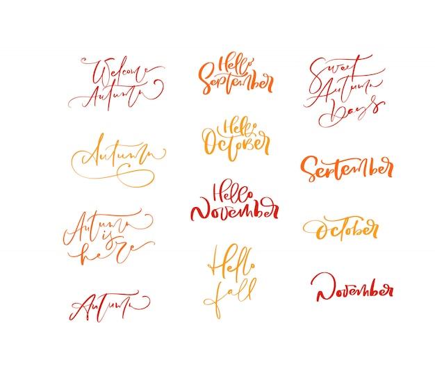 Paquete conjunto de frases de otoño de caligrafía de letras naranjas