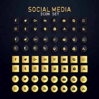 Paquete de conjunto de iconos de redes sociales