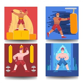 Paquete conjunto ilustración del concepto de boxer