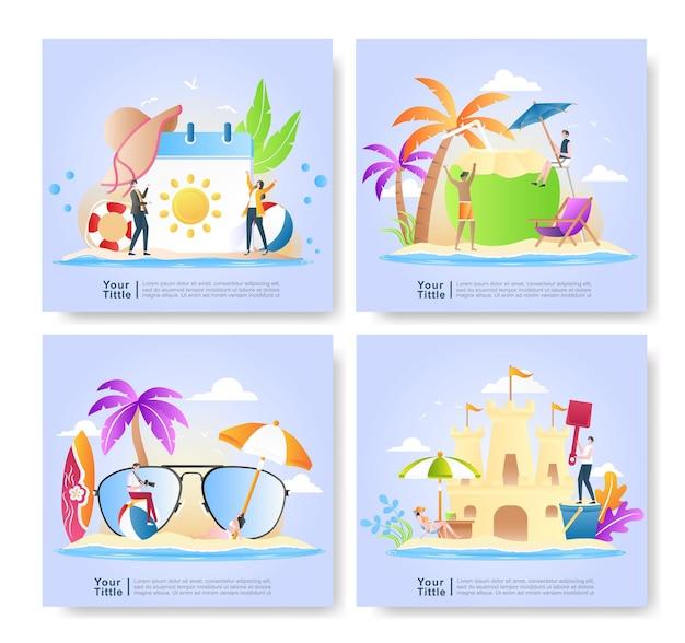 Paquete conjunto ilustración de vacaciones de verano