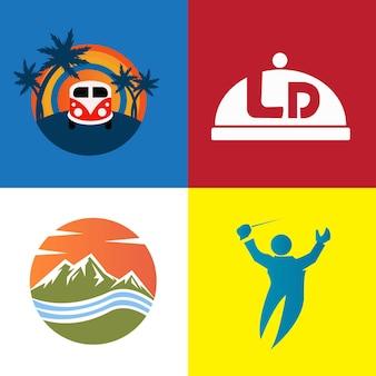 Paquete conjunto moderno logotipo plano insignia naturaleza y maestro