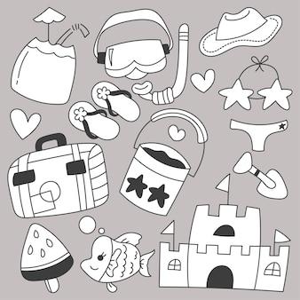 Paquete conjunto de viajes en vacaciones de verano con elementos de dibujos animados boceto de dibujo a mano