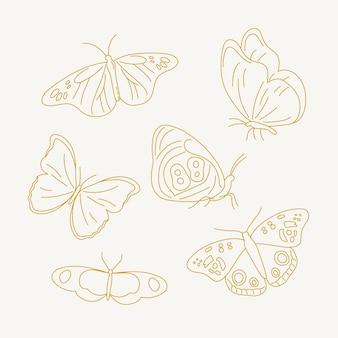 Paquete de contorno lineal de mariposa plana