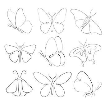 Paquete de contorno de mariposa dibujada a mano