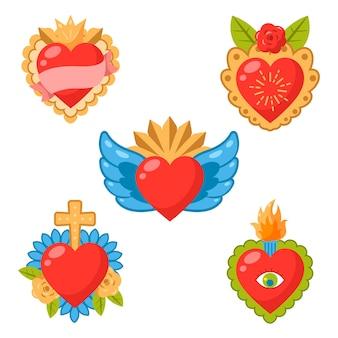 Paquete de corazón sagrado colorido ilustrado
