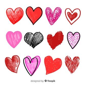 Paquete corazones dibujados a mano