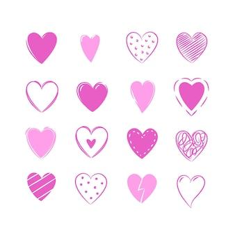 Paquete de corazones dibujados a mano