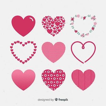 Paquete corazones diferentes