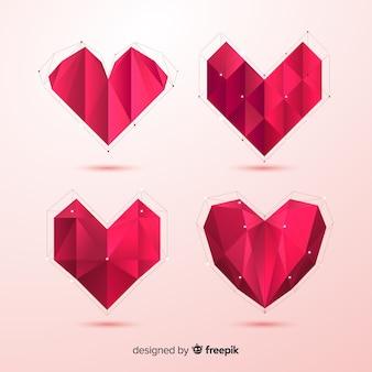 Paquete corazones origami