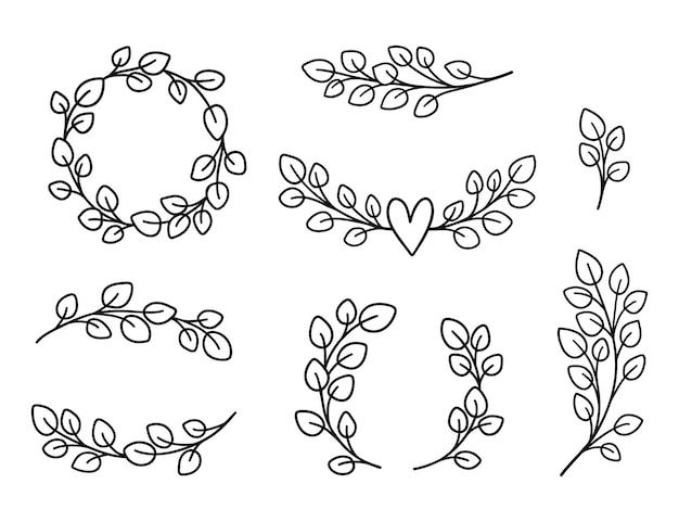 Paquete de coronas y bordes de eucalipto. marcos florales elementos dibujados a mano.