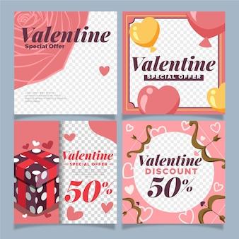 Paquete de correos de instagram de san valentín