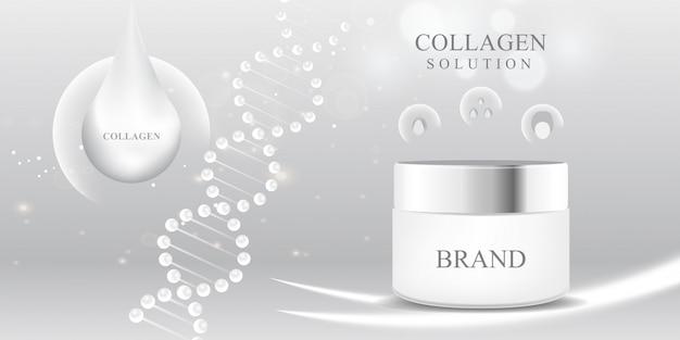 Paquete cosmético 3d colágeno blanco gota de suero