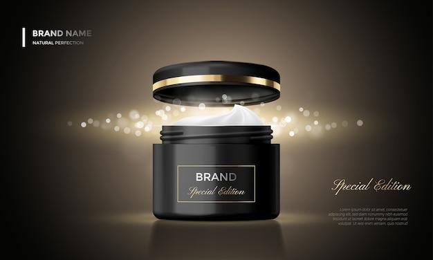 Paquete cosmético publicidad tarro crema premium fondo negro brillo