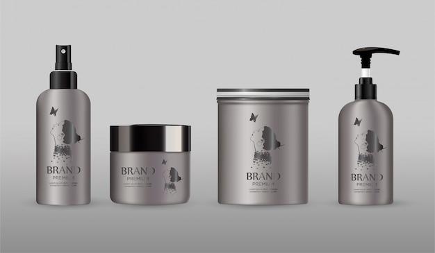 Paquete de cosméticos en blanco maqueta de metal aislado en gris