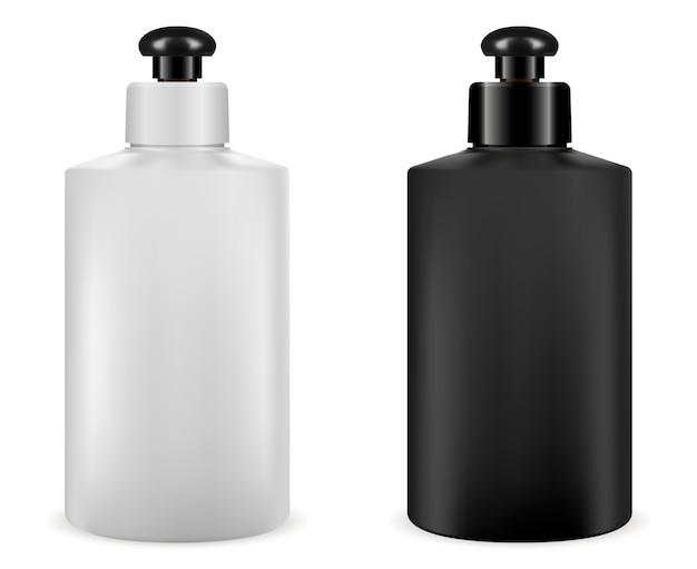 Paquete de cosméticos de champú. envase de plástico en blanco