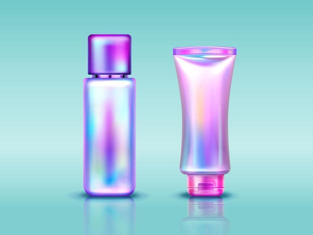 Paquete de cosméticos holográficos, tubo y botella con crema de manos, maquillaje o productos para el cuidado de la piel.