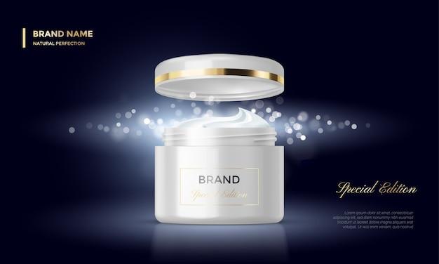 Paquete de cosméticos plantilla de publicidad tarro de crema fondo de oro negro