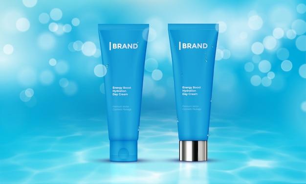 Paquete de cosméticos plantilla publicitaria cuidado de la piel crema agua fondo