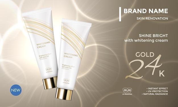 Paquete de cosméticos plantilla publicitaria cuidado de la piel crema hidratante crema facial