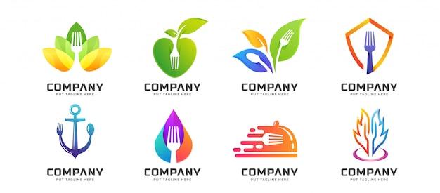 Paquete creativo tenedor cuchara restaurante logo colección
