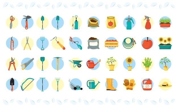 Paquete de cuarenta iconos de estilo plano de jardinería