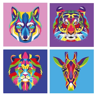 Paquete de cuatro animales vida salvaje ilustración tecnicolor