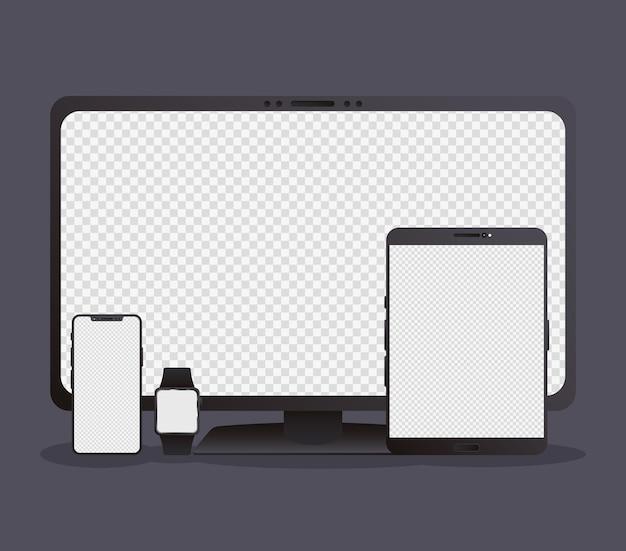 Paquete de cuatro dispositivos electrónicos de maqueta