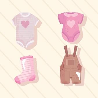 Paquete de cuatro iconos de baby shower, diseño de ilustraciones vectoriales