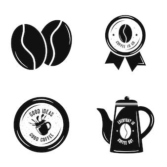 Paquete de cuatro iconos de bebida de café, diseño de ilustraciones