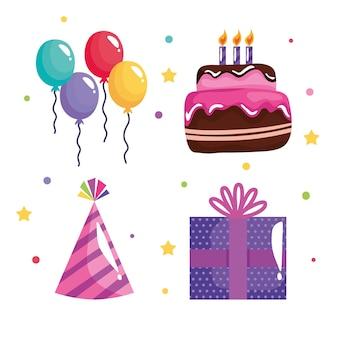 Paquete de cuatro iconos de celebración de cumpleaños de fiesta