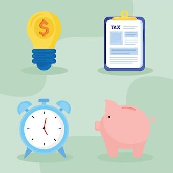 Paquete de cuatro iconos de conjunto de día de impuestos ilustración