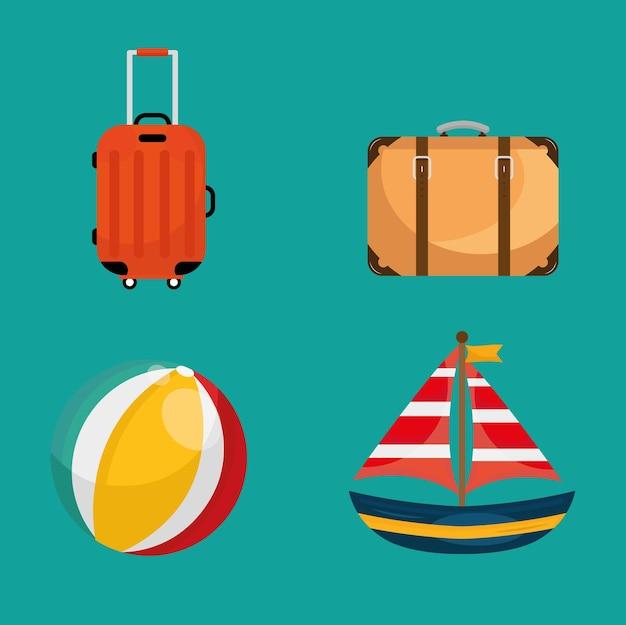 Paquete de cuatro iconos de conjunto de viajes de vacaciones