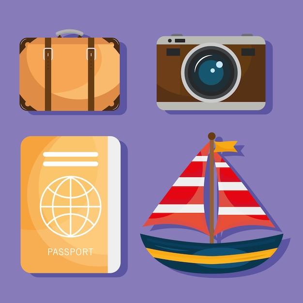 Paquete de cuatro iconos de viajes de vacaciones