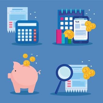 Paquete de cuatro ilustración de iconos de día de impuestos