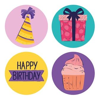 Paquete de cuatro letras e iconos de feliz cumpleaños ilustración